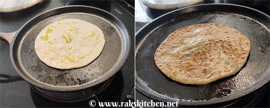 cooking aloo paratha