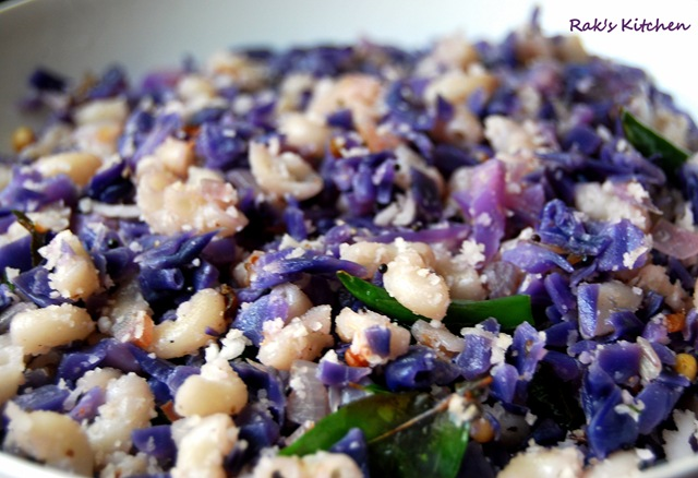 Purple Cabbage Poriyal Recipe Raks Kitchen