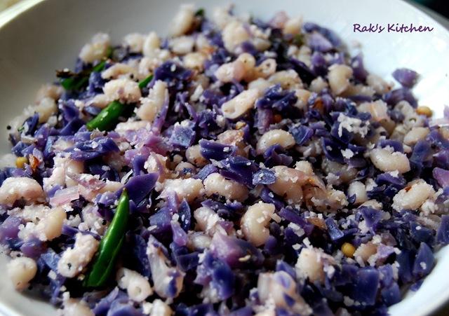 Purple cabbage poriyal