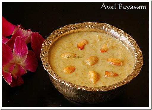 Aval Payasam Recipe Rice Flakes Payasam Recipe Raks Kitchen