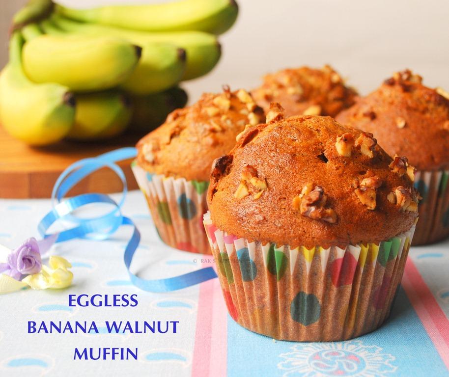 egg free banana walnut muffins