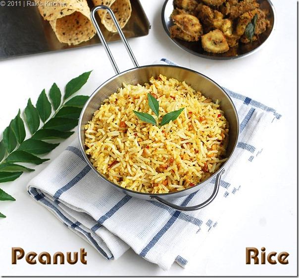 peanut rice with vazhakkai curry, rolled papad