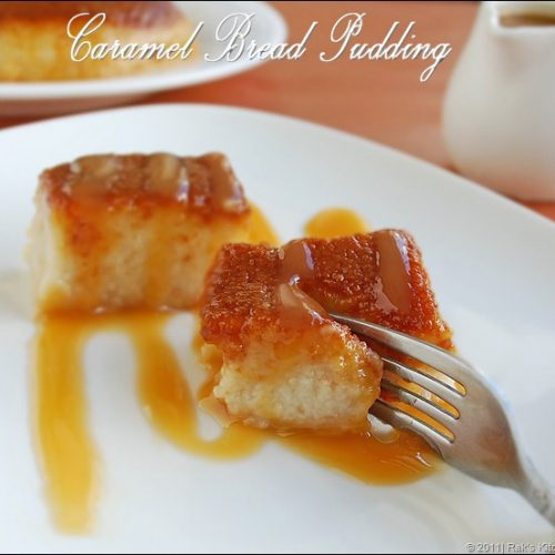 Caramel bread pudding, Eggless bread Pudding recipe