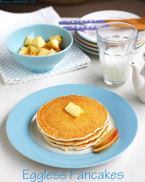 Eggless Pancake Recipe Soft Fluffy Raks Kitchen
