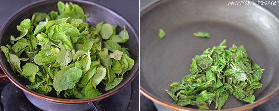 saute mint leaves