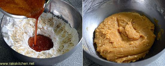 add to flour,mix