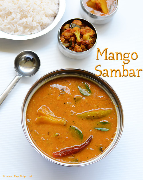 Mango sambar, rice, cauliflower curry