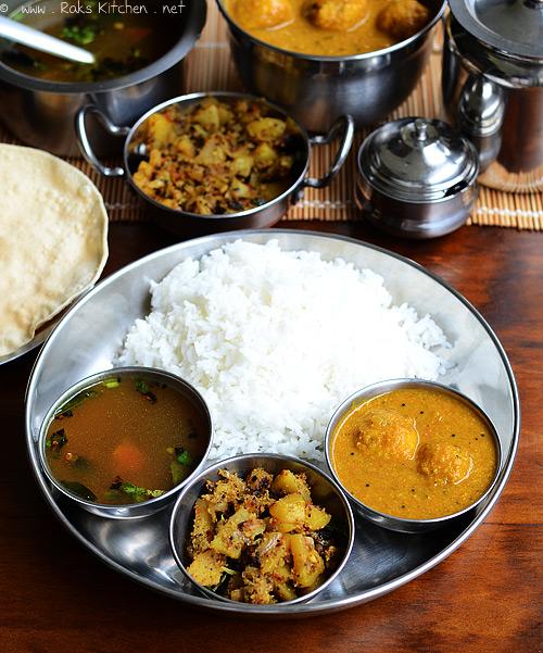Lunch Menu 14 With Urundai Kuzhambu Rasam Potato Curry Raks