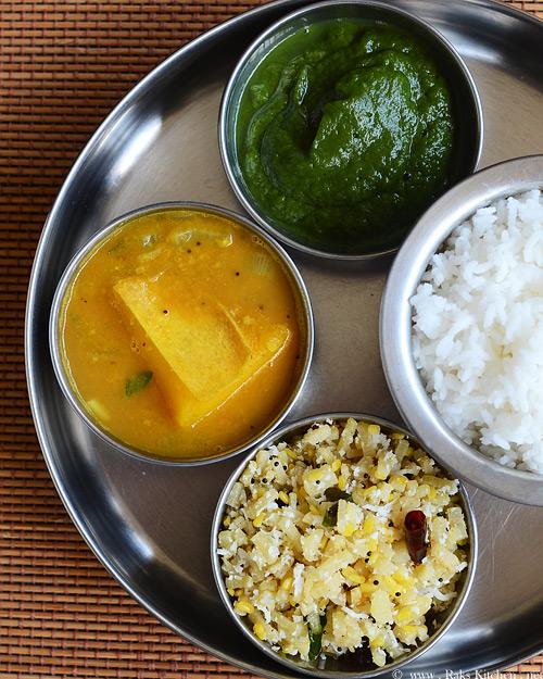 Lunch menu - sambar - masiyal - poriyal