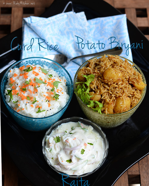 small potato biryani, curd rice, raita
