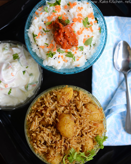 small potato biryani, curd rice, raita, pickle