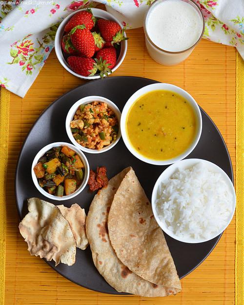 paneer-bhurji-phulka Indian food