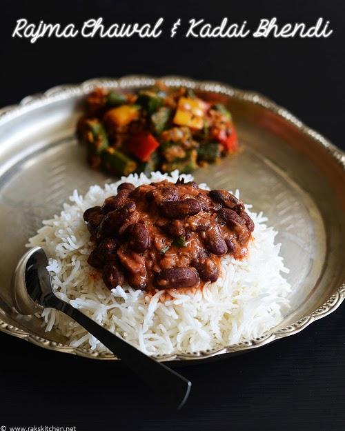 Rajma masala, chawal, kadai bhindi