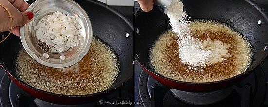 add coconut, rice flour