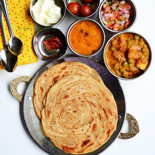Mutter paneer, Lachha paratha, dal fry – Lunch menu 44