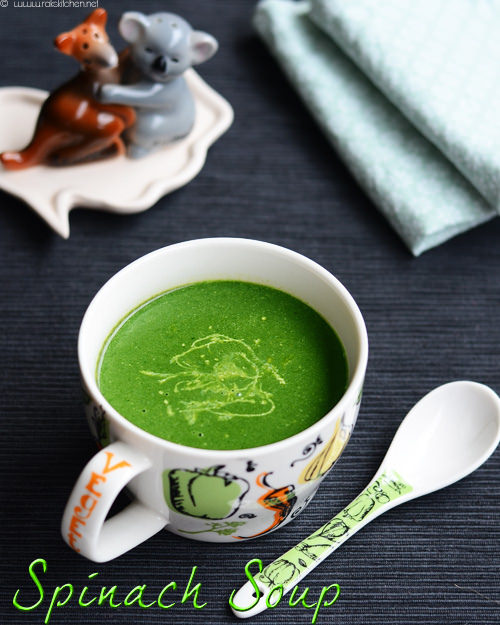 Palak soup, Indian spinach soup