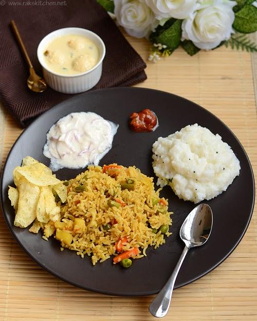 vegetable biryani curd rice rasmalai
