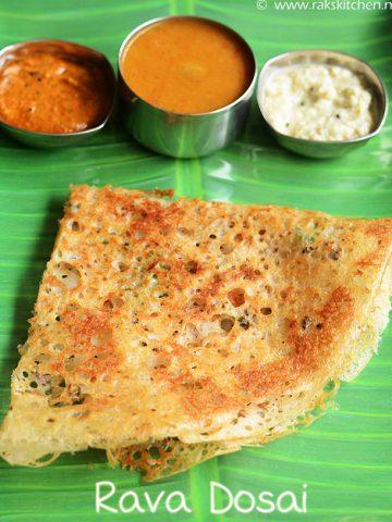 rava dosai with sambar, chutneys