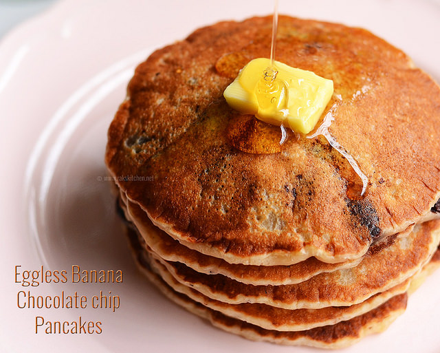 eggless banana pancake with butter, honey dripping