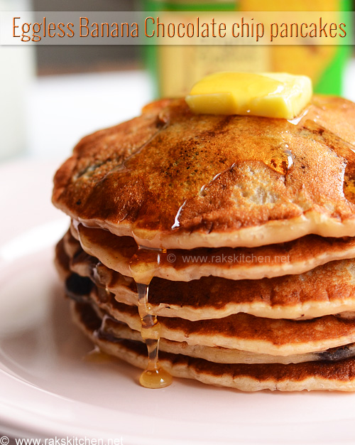 Eggless Banana Chocolate Chip Pancakes Recipe Raks Kitchen