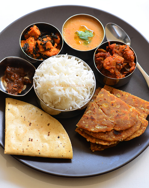 Indian lunch menu, recipes