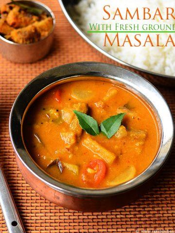 varutharacha sambar recipe with coconut