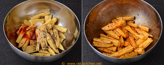 Toss sweet potatoes in spices