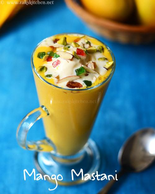 mango mastani, rich mango milkshake with dry fruits