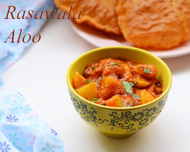 rasawala aloo served with puri