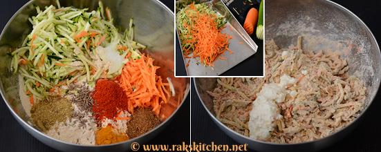 Zucchini carrot paratha preparation 1