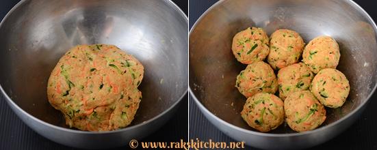Zucchini carrot paratha preparation 2