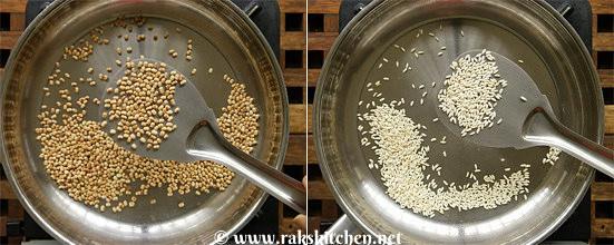 first roast ulundhu, rice