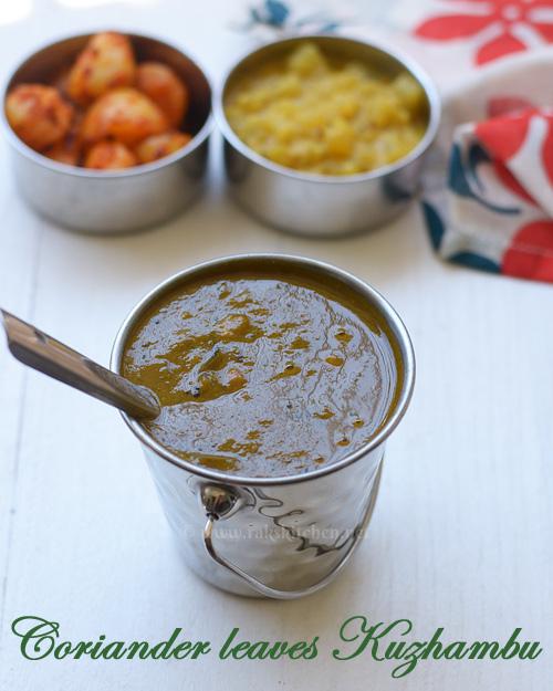 kothamalli kuzhambu recipe