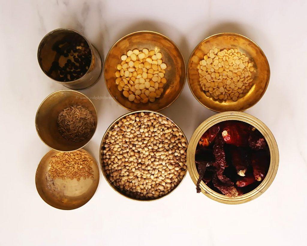 ingredients for sambar podi