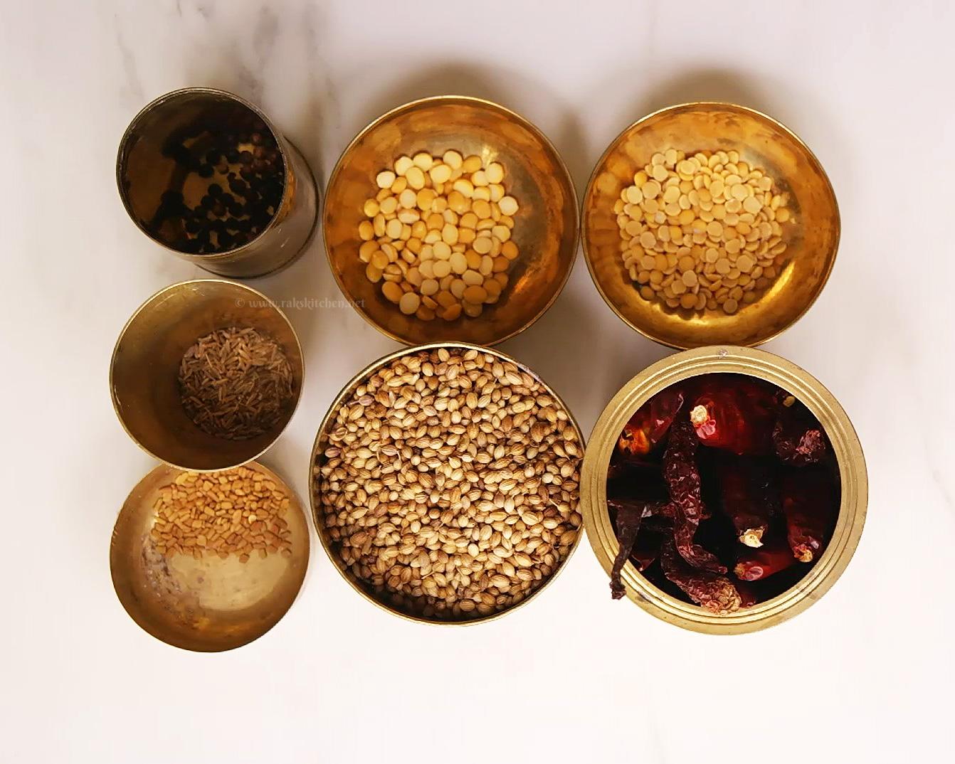 ingredientes de sambar podi