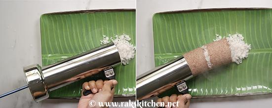 Receita de puttu de arroz vermelho, puttu do zero 12