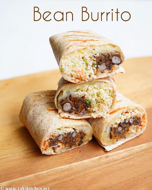 Burrito de feijão, burritos de queijo com cuscuz de feijão 2