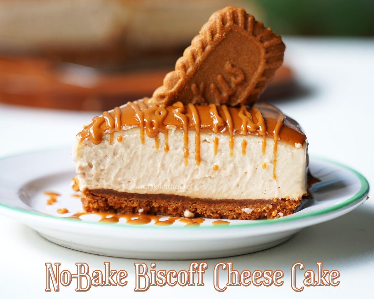Serving suggestion for biscoff cheesecake
