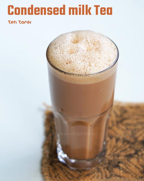 Teh tarik in a glass cup