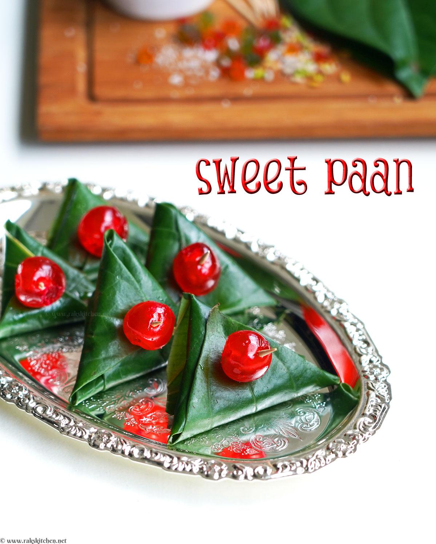 meetha paan, sweet paan arranged in a plate