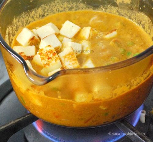 add paneer to the matar gravy