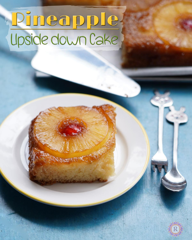 Eggless pineapple upside-down cake