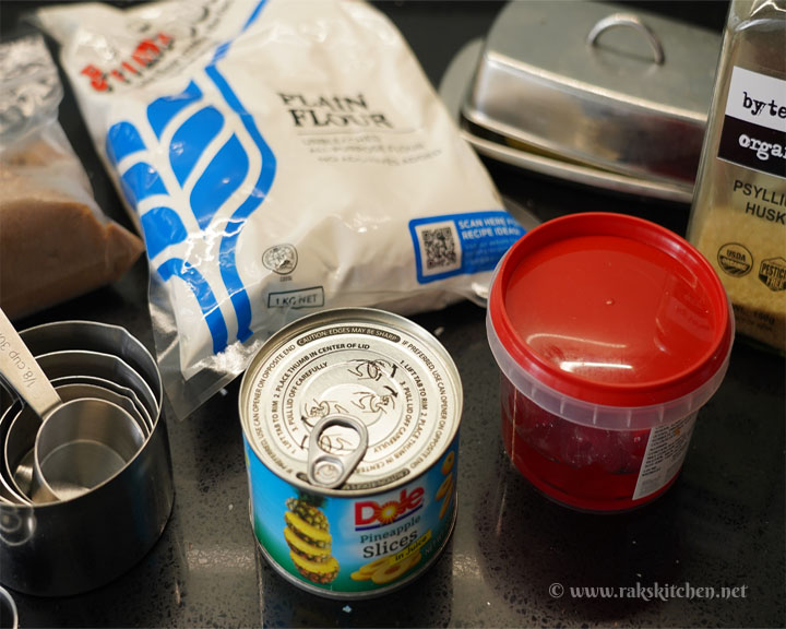 Ingredients for eggless pineapple upside down cake