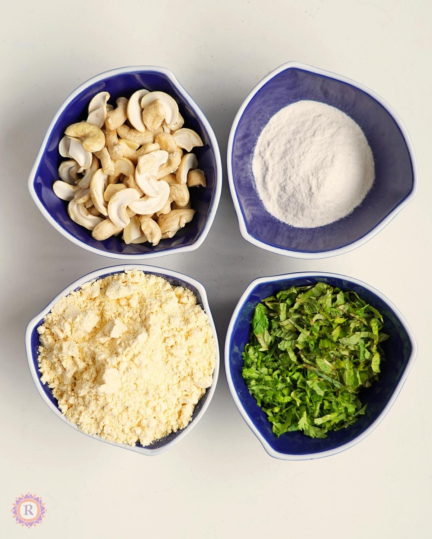 cashew, rice flour, gram flour, herbs