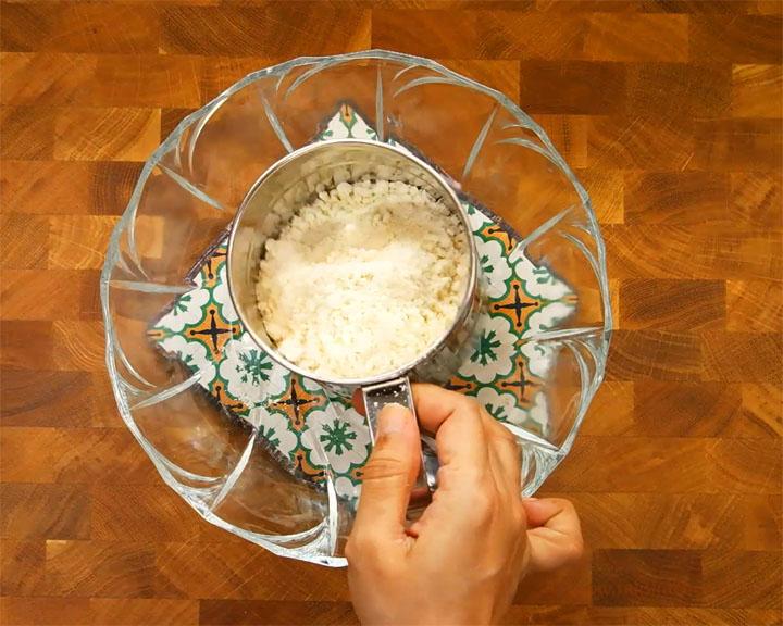 step1 sieve instant gulab jamun mix