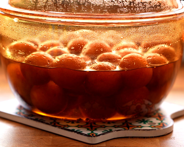 Instant Gulab jamun soaked in sugar syrup